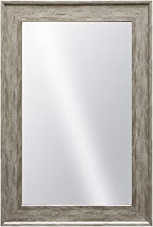 Raphael Rozen , Elegant, Modern, Classic, Vintage, Rustic, Hanging Framed Wall Mounted Mirror, Distressed Wood Like Finish, Gray - White Color 2 3/4