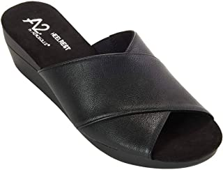 Aerosoles A2 Womens Flower Pot Black Leather Wedge Sandals