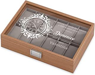 MURRANO Cofanetto Porta Orologi con 12 scomparti - Custodia orologi in legno - Coperchio in vetro - Fodera in velluto grig...