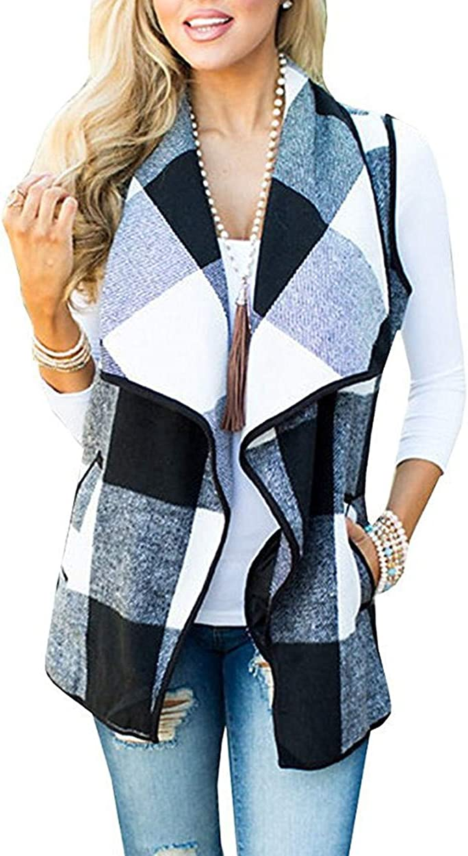 CAIYING Women's Color Block Lapel Open Front Sleeveless Plaid Vest Cardigan Pockets