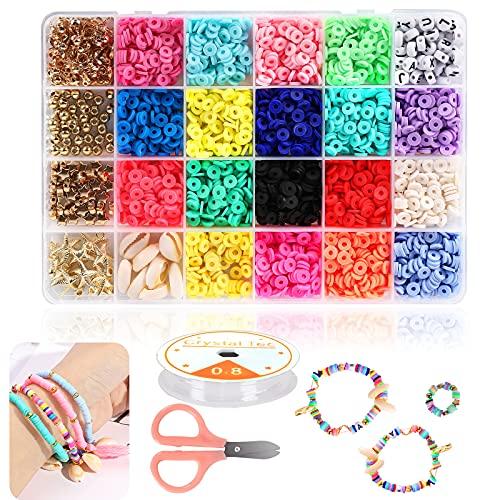Braleto Cuentas de Arcilla Polimérica 18 Colores, Cuentas Espaciadoras Redondas Planas, Kit de Herramientas para Hacer Joyas para Accesorios Pulseras Collar Pendiente