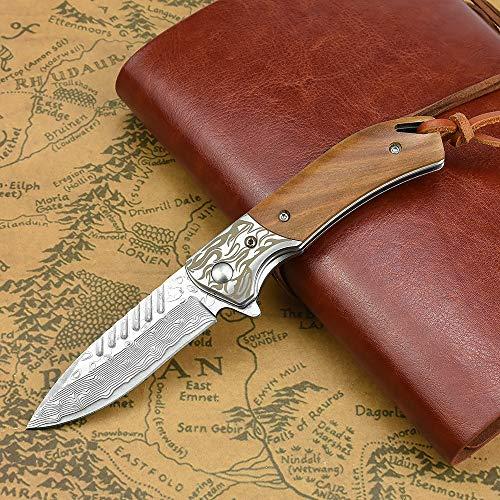NedFoss Fox Damast Zweihandmesser Taschenmesser Klappmesser, EDC Zweihandmesser Damaststahl Messer Outdoor Damastmesser Folder Knife 7cm Klinge (Holzgriff)