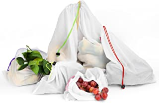 Nuovoware Reusable Grocery Bags, Washable Fruit Vegetable Produce Mesh Bags with Drawstrings for Shopping & Storage, Set of 6, Medium Size, White