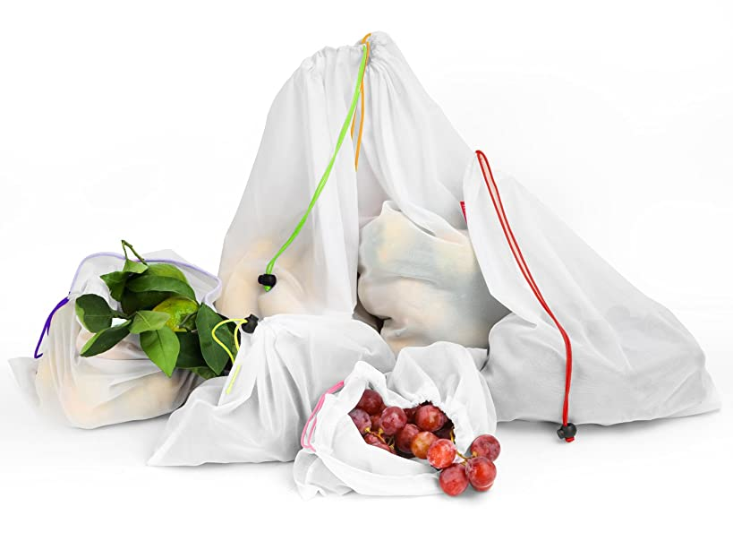 Nuovoware Reusable Grocery Bags, Washable Fruit Vegetable Produce Mesh Bags with Drawstrings for Shopping & Storage, Set of 6, Large Size, White