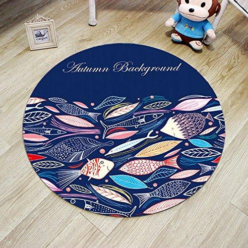 Runder Teppich Stuhl Kissen Hängenden Korb Kinder Cartoon Krabbeldecke 60Cm Durchmesser Piktogramm Fisch