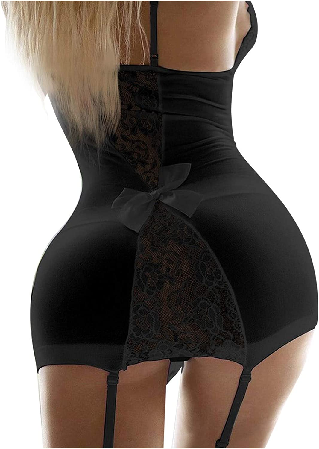 Forwelly Women Lace Lingerie V-Neck Chemise and Thong with Garter Underwear Pajamas Suit Set