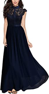 18ca907889 Miusol Women s Formal Floral Lace Cap Sleeve Evening Party Maxi Dress