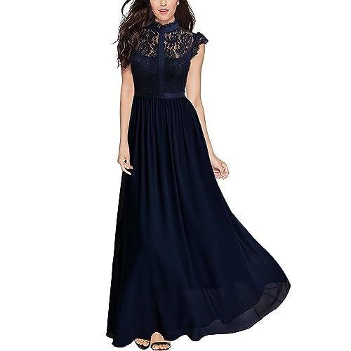 2dc1e385f1d3 Miusol Women's Formal Floral Lace Cap Sleeve Evening Party Maxi Dress