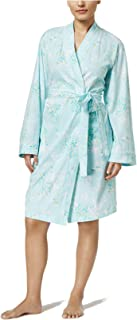 Charter Club Women/'s Sz L Cotton Printed Floral Long Robe Pink Sable NEW