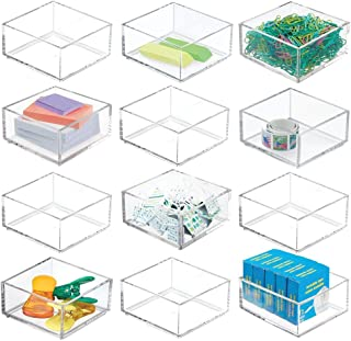 """$29 » mDesign Plastic Stackable Drawer Organizer for Home Office, Desk Drawer, Shelf or Closet to Hold Staples, Highlighters, Adhesive Tape, Paper Clips, Stamps - 4"""" Square, 12 Pack - Clear"""