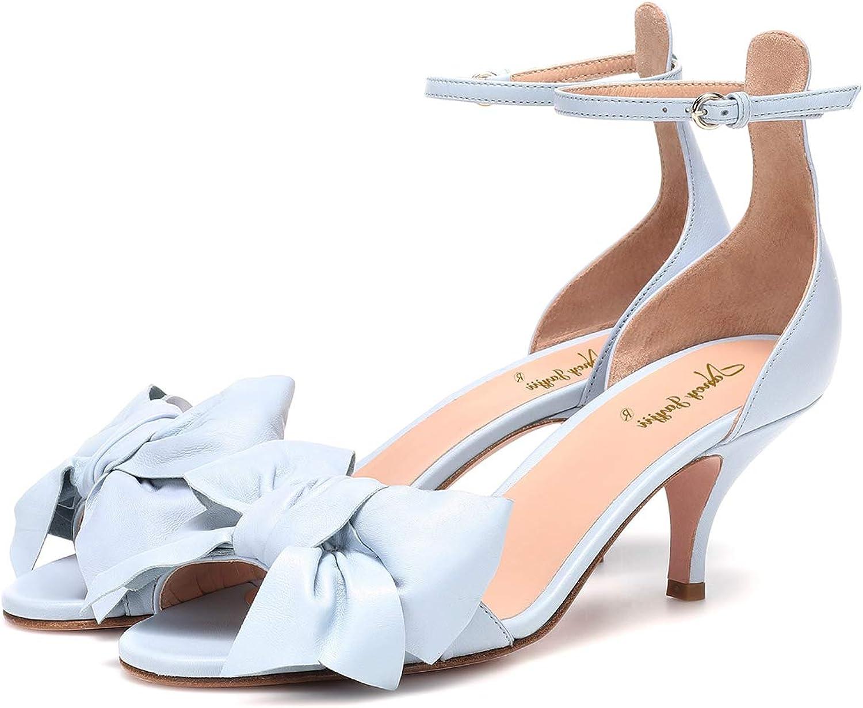 NJ Women Bowknot Kitten Heel Ankle Strap Sandals Peep Toe D'Orsay Wedding Bride Dress Pumps shoes