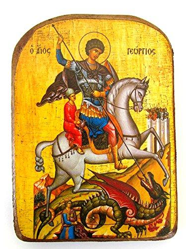 Icono de madera griega cristiana ortodoxa de San Jorge montando su caballo y matando a la bestia / MP2