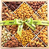 Gourmet Nut Gift Basket, Green Ribbbon Wood Tray (12 Mix) - Easter Food Arrangement Platter, Care Package Variety, Prime Birthday Assortment, Healthy Kosher Snack Box for Women, Men, Adults