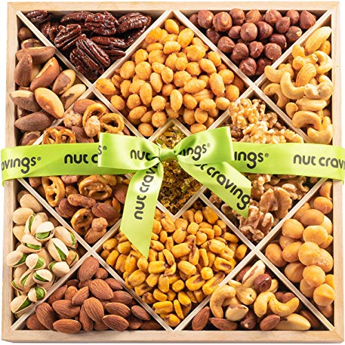 Gourmet Gift Basket, Nut Assortment Wood Tray (12 Mix) - Variety Care Package, Birthday Party Food, Holiday Arrangement Platter - Healthy Snack Box for Families, Women, Men, Adults