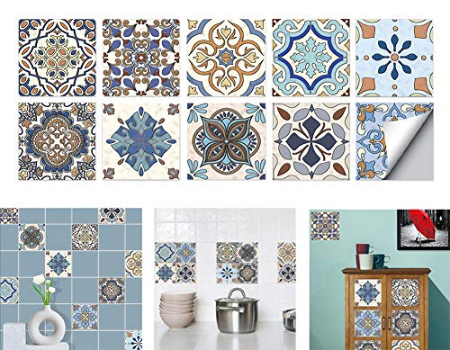 3D Visual Art Geometric Tile Decals Stickers,10pcs 3d Tile Brick Wall Stickers Kitchen Wallpaper Oil-Proof Ceramic Tile Self-Adhesive Wall Stickers For Bedroom Living Room Bathroom Wall (HT-008, M)