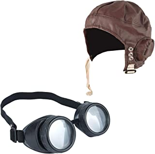 Rimi Hanger Flying Pilot Hat and Goggles 1940s Wartime Fancy Dress Costume Accessory One Size