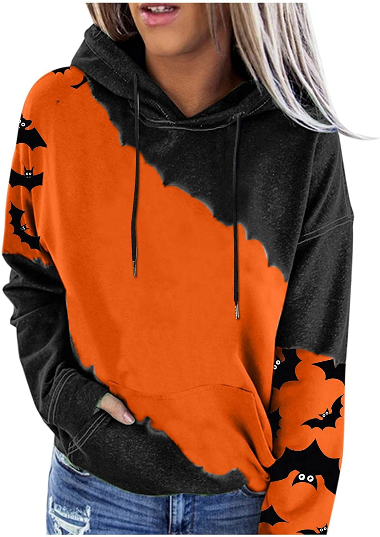 felwors Sweatshirt for Women, Womens Halloween Long Sleeve Colorblock Hooded Sweatshirts Casual Sweater Pullover Tops