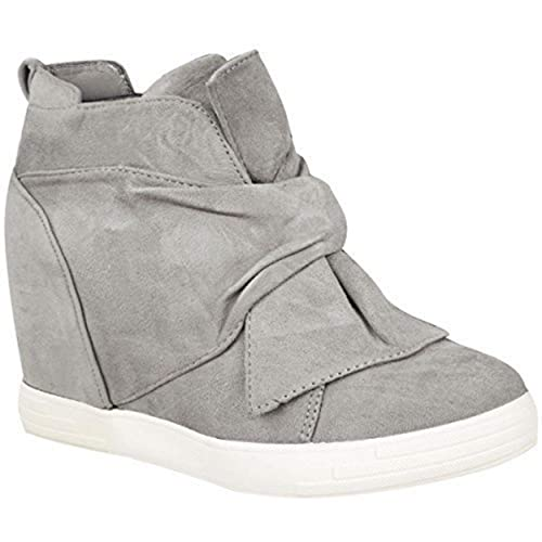 97c0162f1d8e77 Fashion Thirsty Womens Ladies Mid High Heel Wedges Trainers Hi Tops Bow  Sneakers Knot Shoes Size