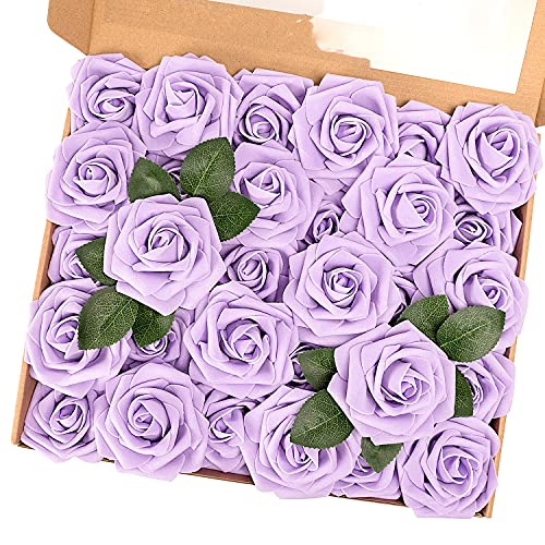 MACTING Artificial Flower Roses, 30pcs Real Touch Fake Foam Flowers for DIY Bouquets Wedding Party Baby Shower Home Decoration (Lavender)