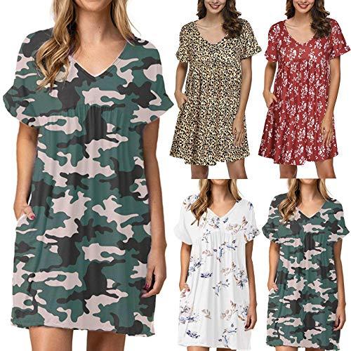Women's Summer Casual T Shirt Dresses Short Sleeve Swing Dress Pockets Women Summer Casual Short Sleeve Dresses Empire Waist Dress with Pockets Boho Beach Dress