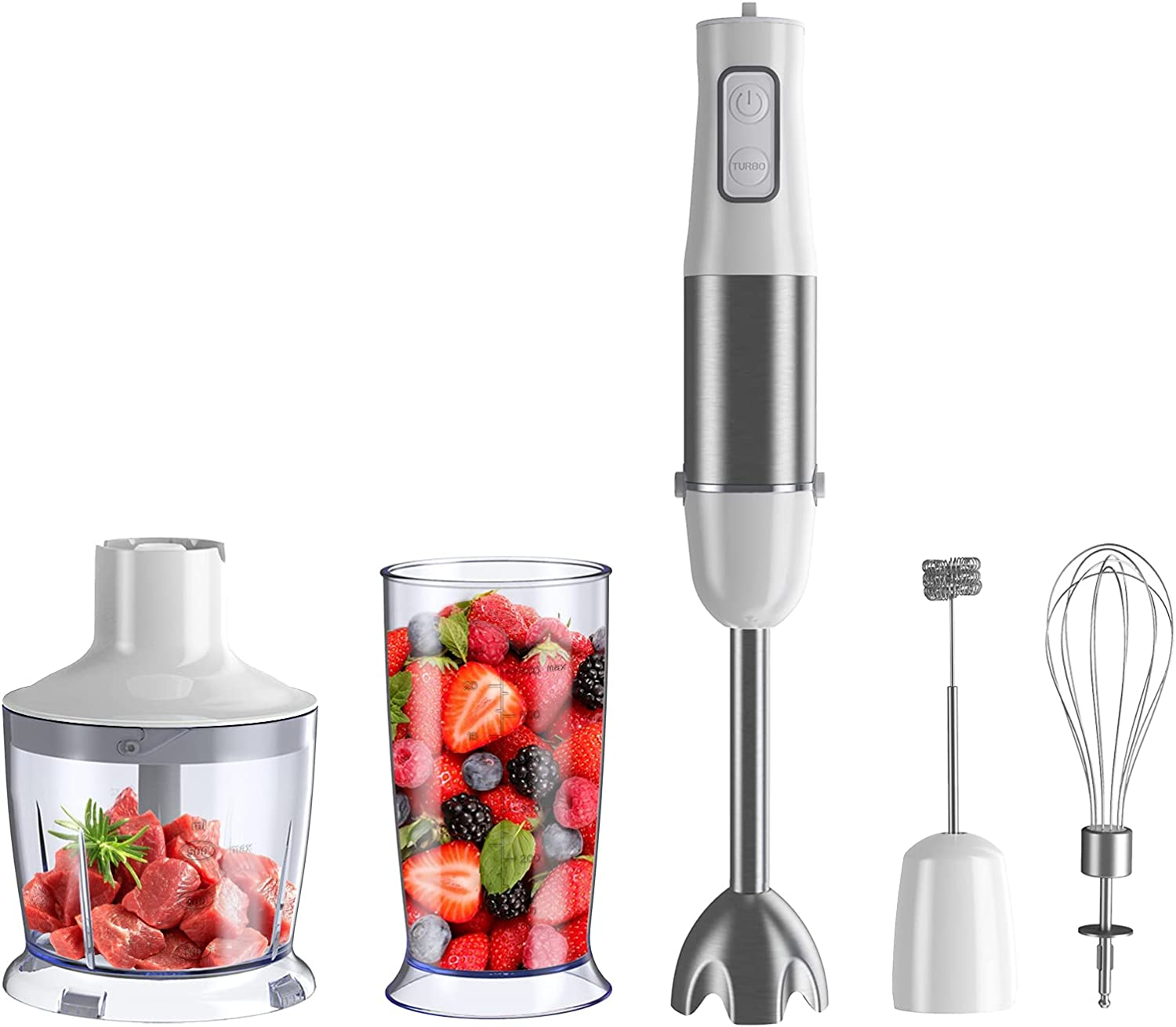5 in 1 Immersion Hand Blender, 500 Watt Stick Mixer with Stainless Steel Blades, Heavy Duty Stick Copper Motor Handheld Blender with BPA-Free Food Chopper, Egg Beater, Milk Frother, 600ml Beaker