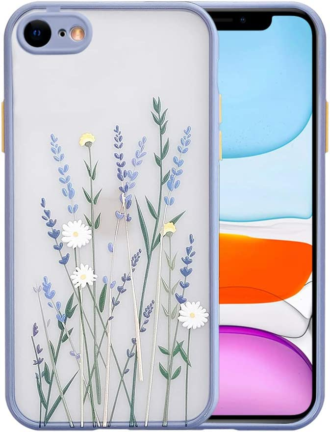 Ownest Compatible with iPhone SE 2020 Case,iPhone 7/8 Case with Clear Frosted PC Back Flowers Pattern 3D Floral Girls Woman and Soft TPU Bumper Silicone Slim Case for iPhone SE 2020/7/8-Purple