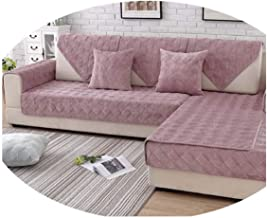 Grey Pink Plaid Quilted Plush Sectional Sofa Cover Slipcovers Furniture Couch Covers Sofa Protector Capa De Sofa Fundas Skin Pink per pic 90cm120cm 1piece