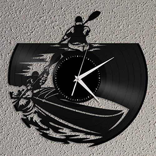 Reloj de pared de vinilo para kayak, regalo único para amantes de los deportes, amigos, decoración del hogar, diseño vintage, oficina, bar, habitación, decoración del hogar