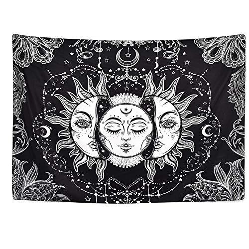DYRCJ Tapiz De Tarot Sol Y Luna Tapiz Psicodélico Tapiz Celestial Negro Tapiz De Pared Mandala Indio Hippie Bohemio Manta De Playa (T03,200 * 150cm)