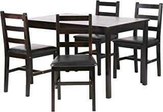 FDW Kitchen Wood Table and Chairs Set Kitchen Table and Chairs for 4 Person,Brown