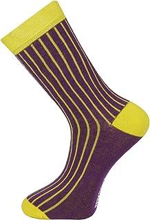 Calcetines de diseño de tobillo unisex Acanalado púrpura amarillo