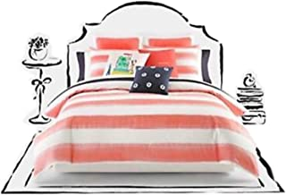 Kate Spade Rugby Stripe Full/Queen Comforter Set, Hot Coral