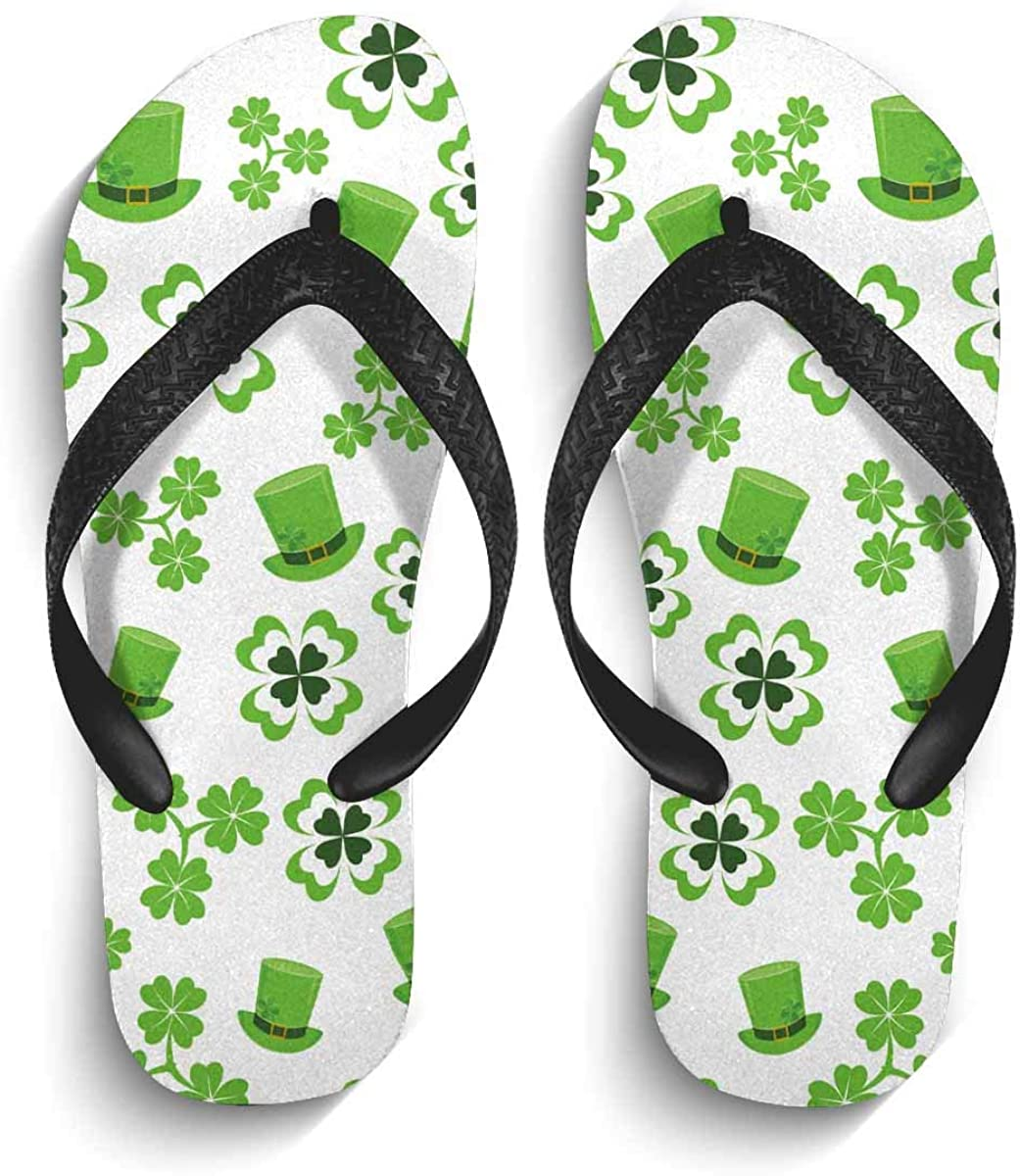 INTERESTPRINT Lightweight Flip Flop Slippers Four Leaved Green Clover Hat for Saint Patricks Day Non-Slip Thong Sandal Casual Footwear for Men S