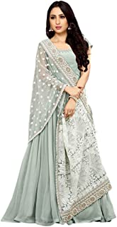Monika Silk Mill Women's Georgette Embroidered Semi Stitched Long Gown with embroidered Dupatta (Light Blue Color) Free Size