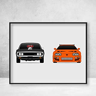 Fast and the Furious Dodge Charger and Toyota Supra MKIV, Dominic Toretto (Vin Diesel) Brian O'Connor (Paul Walker) Poster Print Wall Art Handmade