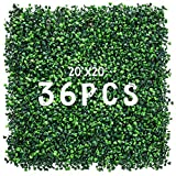 Decwin 20''x20'' 36 Pieces Artificial Hedge Boxwood Wall Panels Faux Topiary Hedge Wall Privacy Screen Hedge Plants UV Stable for Indoor Outdoor Decor Garden Fence Grass Wall Backdrop