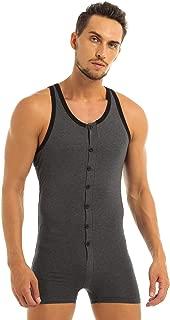 Agoky Men's Cotton Breathable Workout Bodysuit Sleeveless Button Down Undershirt Leotard Top Boxer Brief
