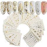 AIUIN 30 Piezas Pegatina de Uñas Estampado de Oro y Plata Atrapasueños Guías de Clavar Tip Pegatinas Conjunto con Uñas de Manicura