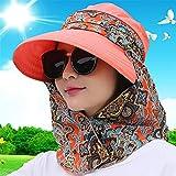 WEIFLY Cappello per Il Sole delle Donne, Pieghevole Beach Outdoor Protezione UV delle Donne Pesca Cappello da Sole Cappelli per Le Donne Tesa Larga Pesca Cappello Collo Flap Rimovibile,Arancia
