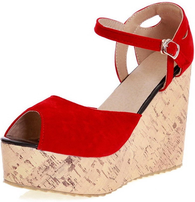 WeenFashion Women's Buckle Imitated Suede Peep Toe High-Heels Solid Platforms & Wedges