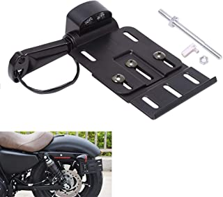 AQIMY Motorcycle LED Light License Plate Frames Side Mount License Plate Holder for Harley Forty Eight Sportster XL1200 XL 883L