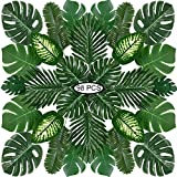 PietyPet 98 Stück 8 Arten Tropische Pflanze Palm Blätter Monsterablätter, Plastikpalmenblätter, künstliche Palmenblätter mit Stielen, für Hawaiische Luau Dschungel Strand Thema Tischdekoration