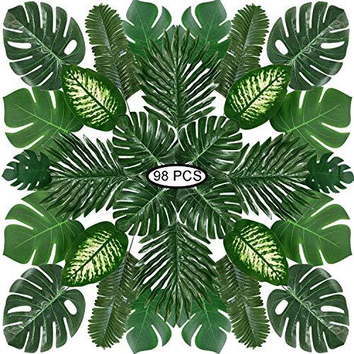 Hojas de Palma Artificiales, PietyPet 98 Piezas 8 tipos Verde Plantas Artificiales, Falso Hojas de Monstera con tallos para Luau, Fiestas Decoraciones Eventos, Bodas, Hawaiano