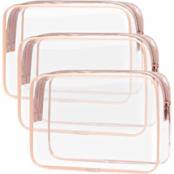 Clear Makeup Bag with Zipper, Packism 3 Pack Beauty Clear Cosmetic Bag TSA Approved Toiletry Bag, Travel Clear Toiletry Bag, Quart Size Bag Carry on Airport Airline Compliant Bag, Rose Pink