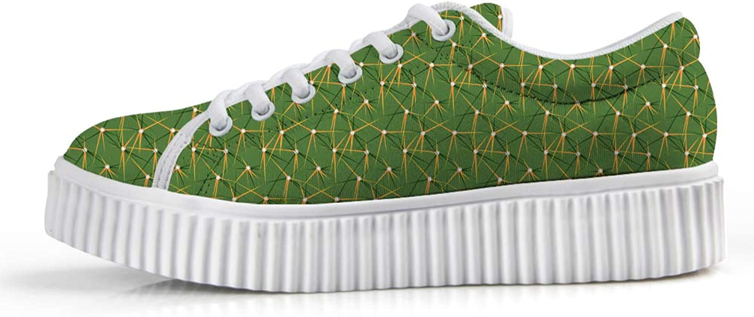 Owaheson Platform Lace up Sneaker Casual Chunky Walking shoes Low Top Women Cacti Cactus Pricks Surface