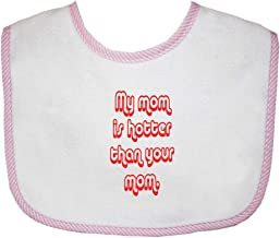 My Mom Is Hotter Than Your Mom Cotton Baby Terry Bib Gingham Trim, One Size