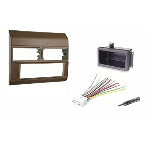 beige radio stereo dash kit w/wire harness+pocket+antenna adapter fits chevy