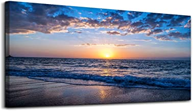 hyidecor art Wall Art Moon Sea blue Ocean Landscape Paintings Bedroom Canvas Art Print wall art for living room Paintings for Wall Decor and Home Decor (20 x 40inch x 1pcs)
