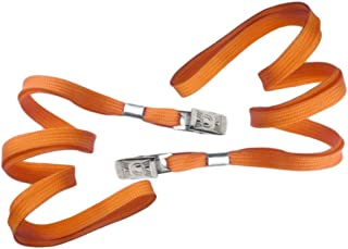 Orange Blank Flat Nylon Neck Lanyards/Straps/Strings with Bulldog Badge Clip Attachment for Office ID Name Tags and Badge Holders