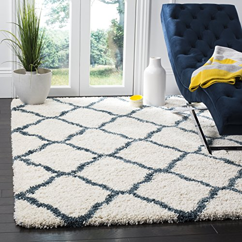 Safavieh Hudson Shag Collection SGH283T Moroccan Trellis 2-inch Thick Area Rug, 5'1' x 7'6', Ivory / Slate Blue